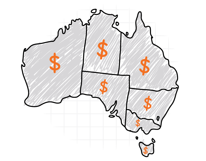 map of australia with the states highlighted